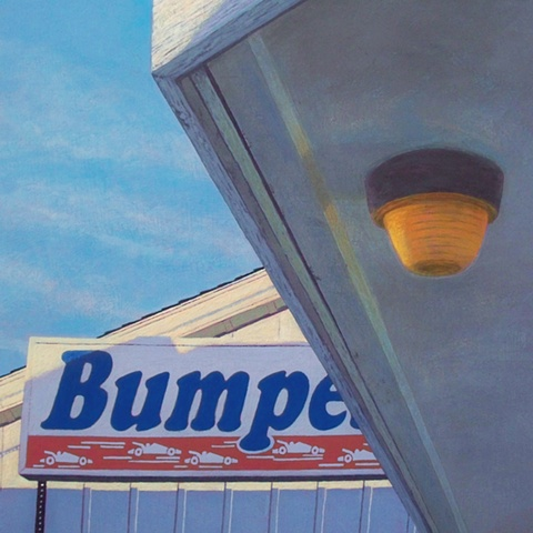 Bumper, Interrupted painting of bumper cars painting of urban landscape by Art Ballelli