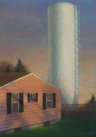 painting of urban landscape New Bedford area Bristol County art by Art Ballelli