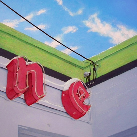 painting of Firestone neon sign painting of neon urban landscape by Art Ballelli