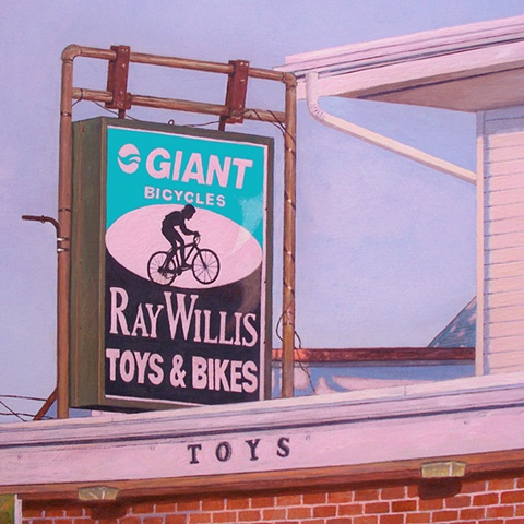 bike store painting of urban suburban small town pink art landscape by Art Ballelli