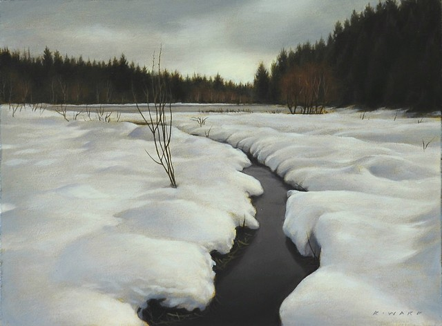 Valley Stream in Winter (study)
