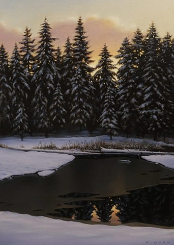 Winter Pond at Dusk