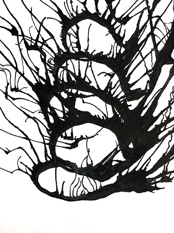 Black and white organic abstract ink on paper flow abstract expressionism tendrils