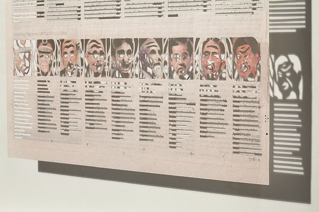 political, obsessive, cut paper newspaper pieces