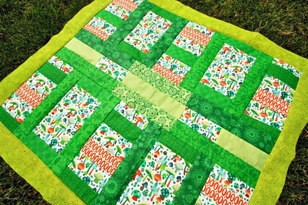 Summer Mushrooms Baby Quilt