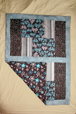 bike bicycle baby quilt blue gray floral flowers