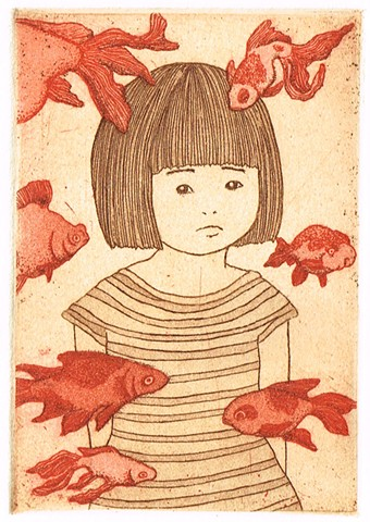 Etching and aquatint, goldfish, girl