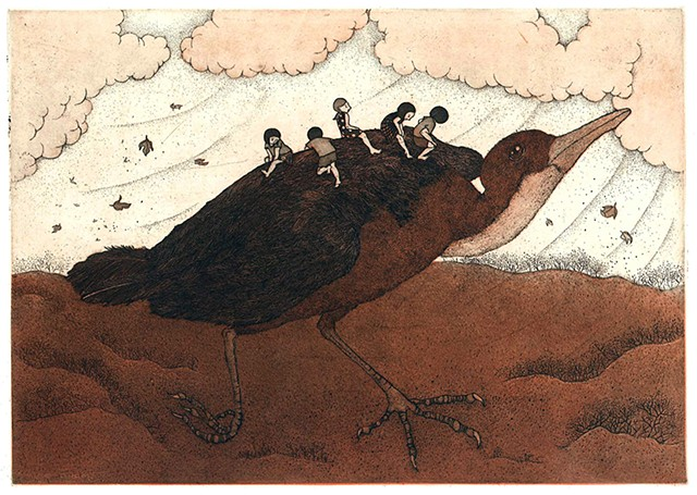 white throated rail, etching, aquatint