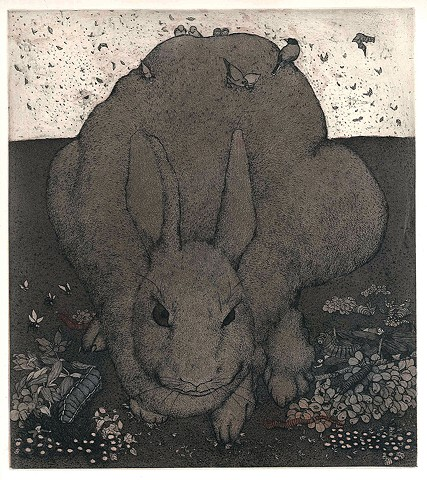 rabbit etching aquatint