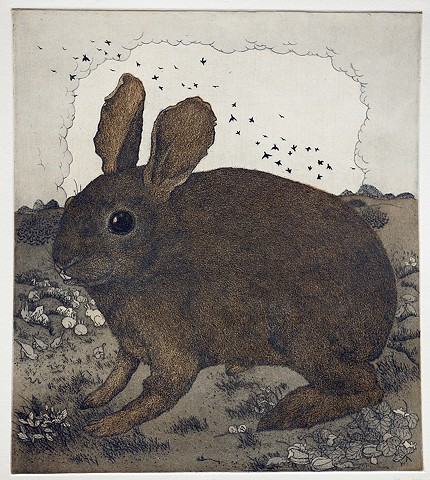 Etching and aquatint hare