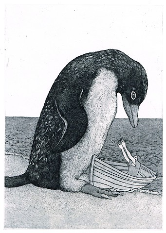 Etching and aquatint, animal, penguine