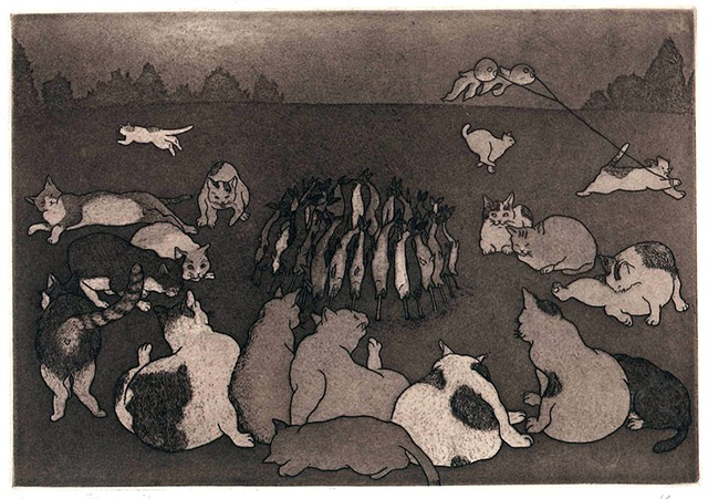 Cat etching aquatint