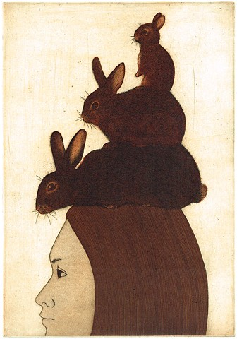 Etching and aquatint, animal, rabbit