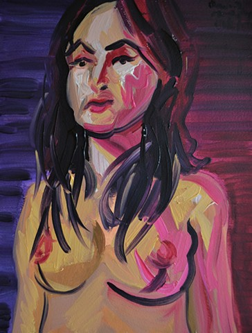 Nude in Coloured Lights, oil painting, david murphy, irish ireland, painting