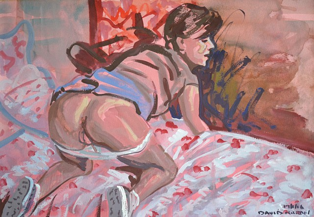 Woman Baring Her Bottom, Female Nude, gouache, watercolour, david murphy