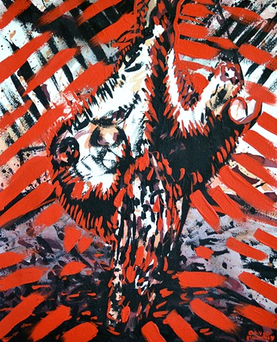 Abattoir, cow, painting, acrylic, red, black, david murphy, irish, ireland, dublin