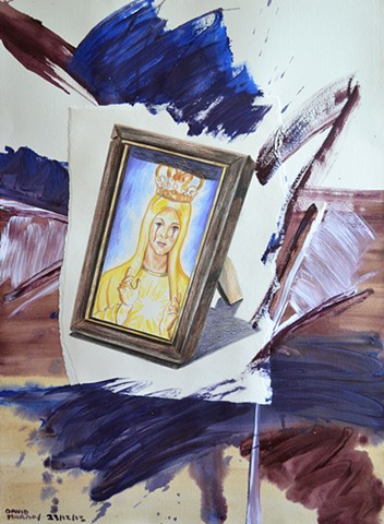 Our Lady of Sorrows, 2013, painting, collage, drawing, david murphy