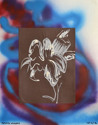 Bloom, 2013, collage, drawing, spray paint, david murphy