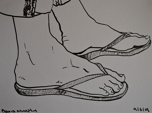 Girl's Feet in Flip-Flops, drawing, brush and Indian ink, erotic, feet, david murphy, Irish, Ireland