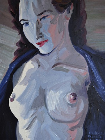 Nude Baring Breasts, oil painting, david murphy, irish ireland, painting