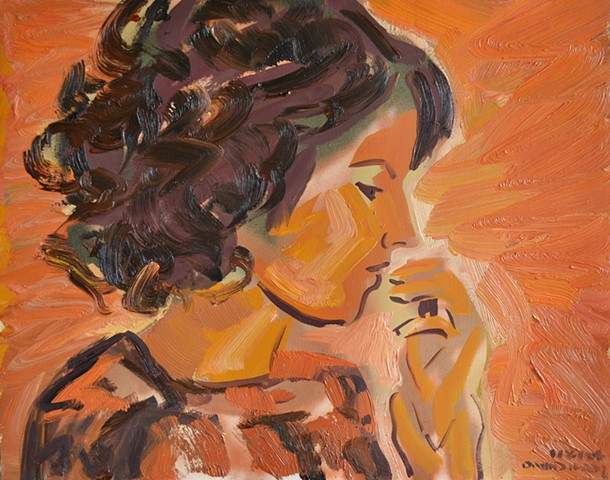 Woman in Profile, david murphy, oil and spray paint
