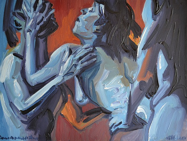 Frenzied Threesome, oil painting, david murphy, irish ireland, painting