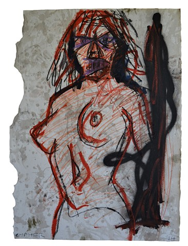 Demon Nude, drawing, female, woman, david murphy, cypher, the panic artist, dublin, ireland