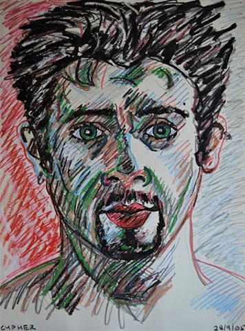 Self-Portrait Bust No. 3, david murphy, autoportrait, irish, ireland, dublin, oil pastel, drawing