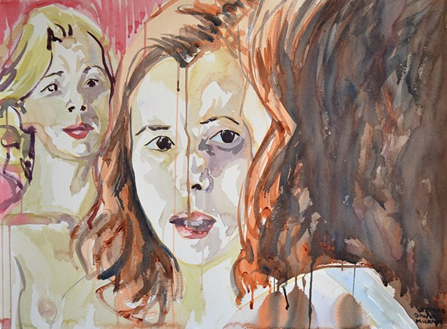 Mirror, Two women, Watercolour, Sketch,  David Murphy, Cypher, The Panic Artist