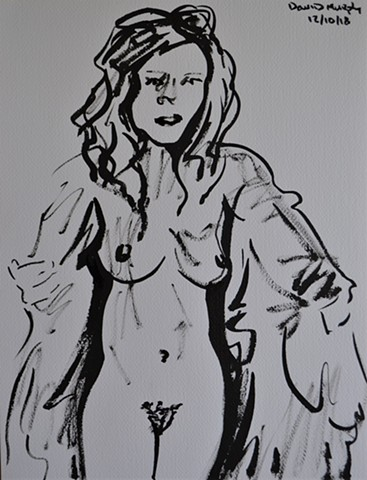 Woman's Disrobing, drawing, erotic, porn, brush and ink, david murphy, irish, ireland