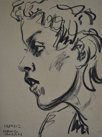 Thoughtful Girl, 2013, charcoal, drawing, david murphy