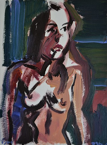 Female Nude Sketch, erotica, erotic, lover, oil, painting, david murphy