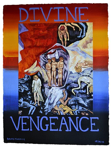 Divine Vengeance, collage, acrylic, Giotto, neo-expressionist, david murphy