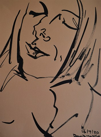2020, Sketch of Girl No. 2, Indian ink, david murphy, ireland, dublin