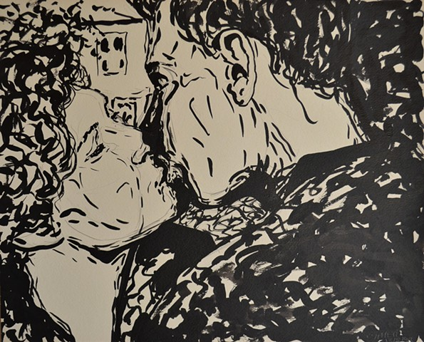 Kissing Couple, indian ink, pencil, David Murphy, Cypher, The Panic Artist