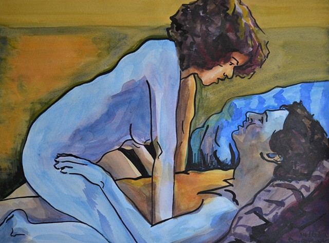 Blue Lovers, sex, intercourse, couple, embrace, erotic, drawing, watercolour, david murphy, irish