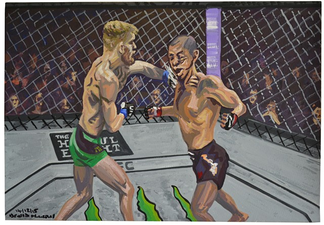 Conor McGregor Knocking Out Jose Aldo, UFC, gouache and watercolour, david murphy