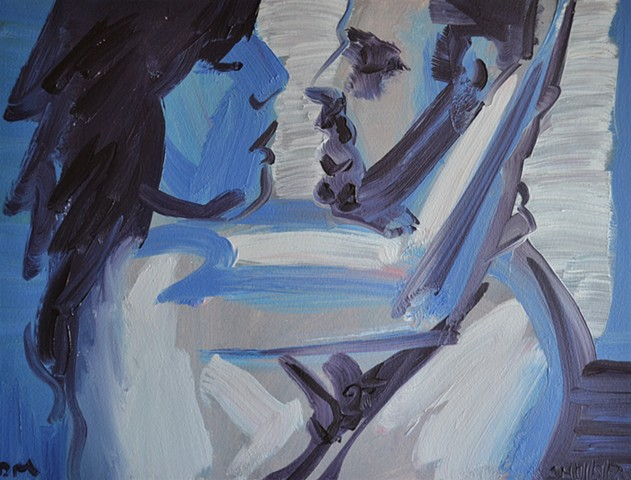 Blue Lovers, oil painting, david murphy, irish ireland, painting