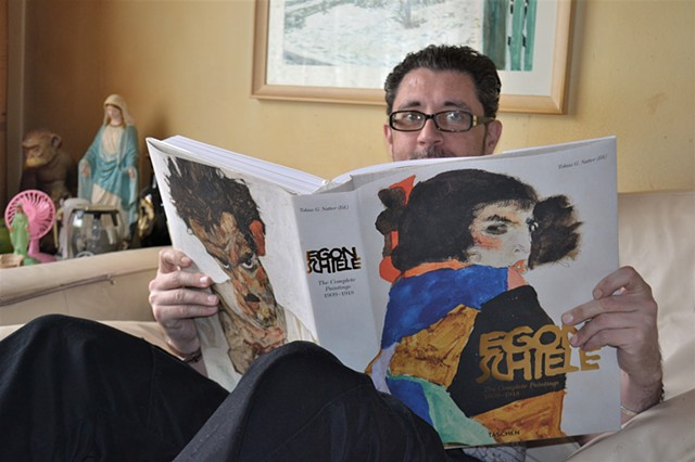 David Reading Egon Schiele Book No. 1, irish, artist, ireland, painter, writer, dublin,