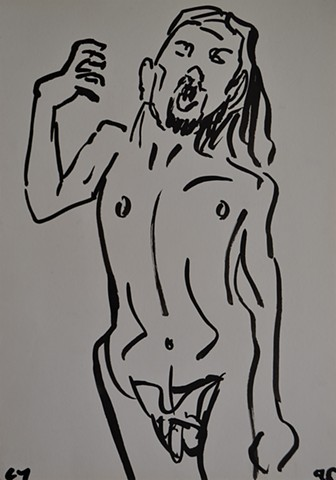 Nude Self-Portrait Sketch No. 1, cypher, the panic artist, irish, ireland, drawing, ink,