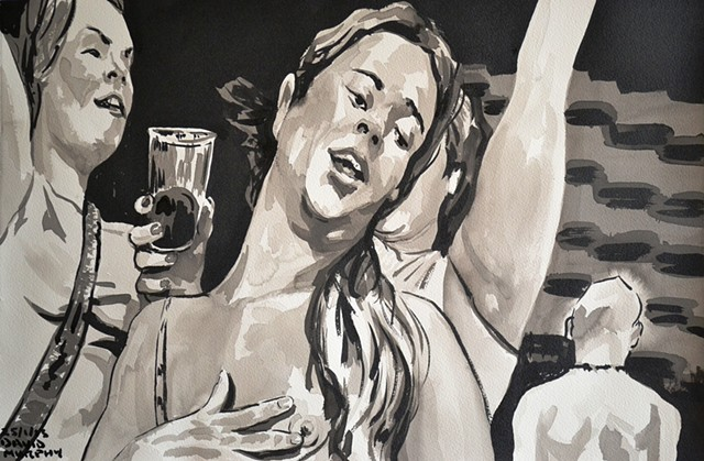 Drunk Women, Flasher, Indian Ink and Brush, drawing, sketch, David Murphy, Cypher, The Panic Artist
