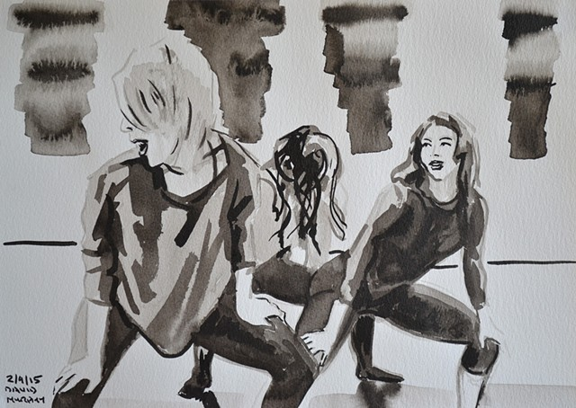 Twerking Girls, David Murphy, brush and indian ink,