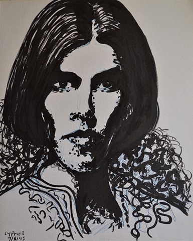 Girl With Bobbed Hair, david murphy, cypher, brush and indian ink