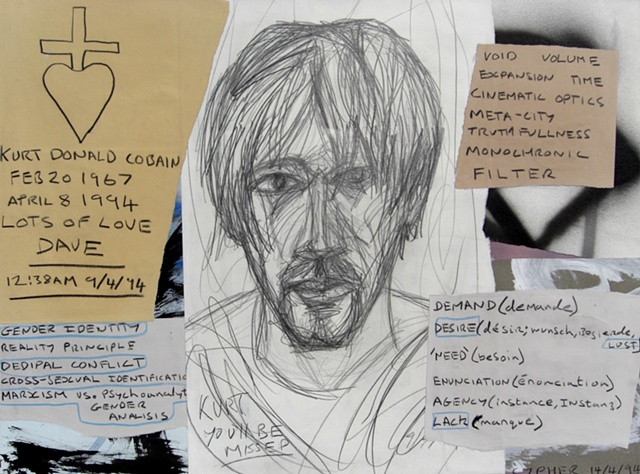 Kurt Cobain RIP, drawing, collage, david murphy, cypher, art brut, outsider
