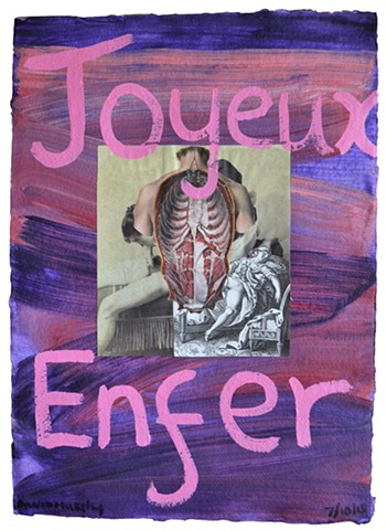 Joyeux Enfer, erotic, porn, vintage, collage, painting, purple, pink, post-modern, neo-expressionist, contemporary