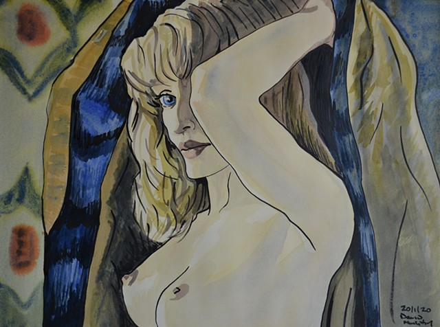 Woman Undressing, erotic, drawing, artwork, painting, david murphy, irish, ireland, dublin