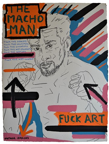 The Macho Man No. 2, anti-art, outsider, outcast, acrylic, oil stick, david murphy, irish, ireland