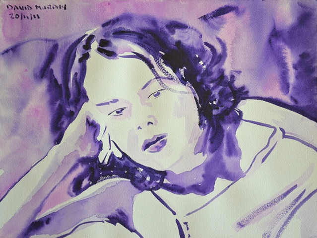 naked girl, webcam, watercolour, purple, violet, contempoaray, irish, ireland, painting, artwork