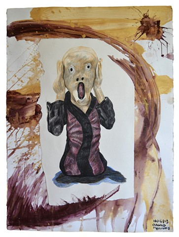 The Scream, 2013, painting, collage, drawing, david murphy
