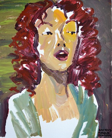 Haughty Redhead, acrylic, painting on paper, david murphy, dublin, irish painter, irish artist